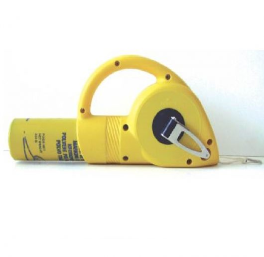 30m reelable Maxi Line Chalk Line chalk holder with chalk inserted into the back on a white background