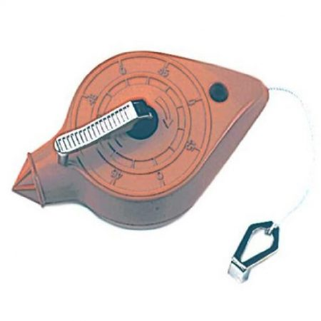 30m chalk line with metal case and folding metal handle on a white background