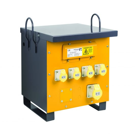 Side view of yellow and grey steel Defender air cooled site transformer with 4 x 16A & 1 x 32A power outlets and carry handles