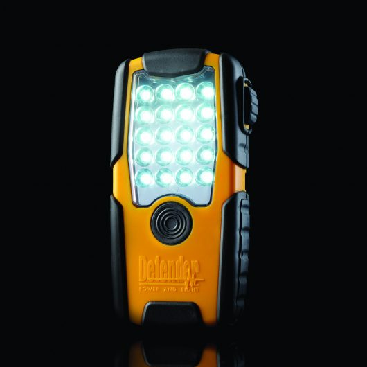 ABS and poly carbonate rechargeable LED mini mobi inspection light with impact resistant rubber overmould and Defender logo
