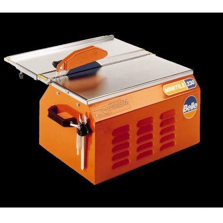 Belle minitile 230 with orange Belle branded casing, silver cutting table and blade with orange blade protector