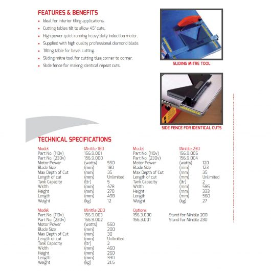 Belle minitile tile saw models specification poster with images of tile saws features