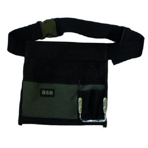 Black and grey nylon nail and tool pouch attached to adjustable belt