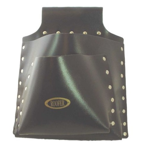 Heavy duty black Roofinglines nail pouch with multiple different style and size pockets and Roofer logo on the front centre
