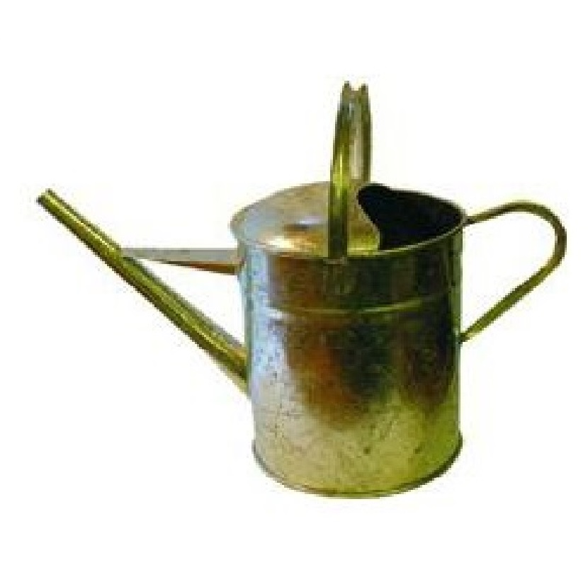 2 gallon narrow spout pouring can with handles made from reinforced steel on a white background
