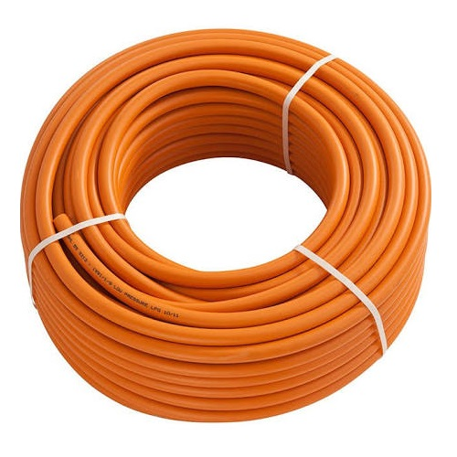 50M x 8mm roll of orange gas hose on a white background