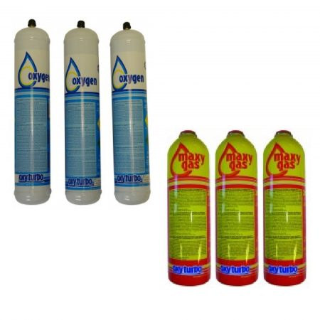 3 spare yellow and orange gas cylinders and 3 spare white and blue oxygen cylinders for the Oxyturbo turbo 90 kit