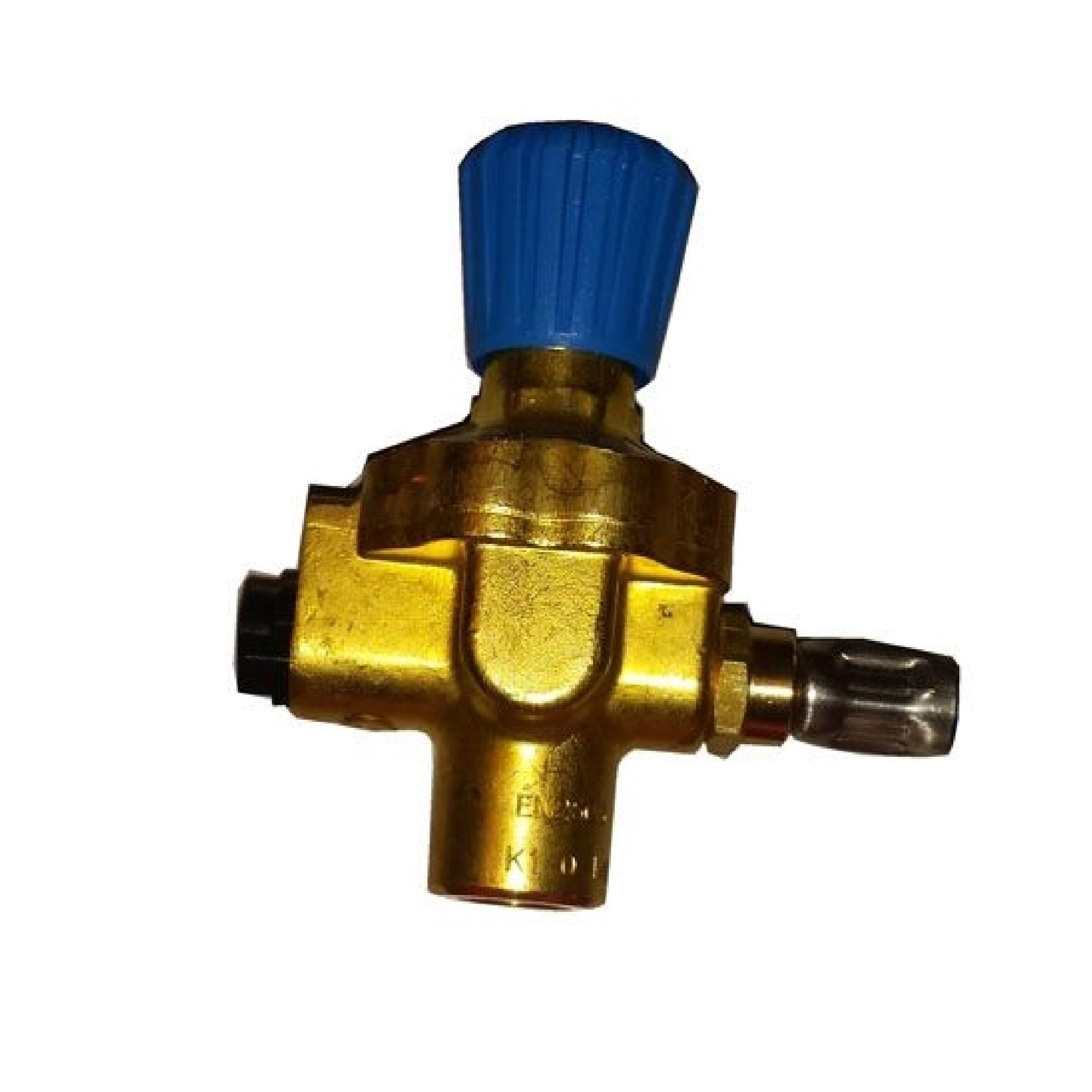 Metal Oxyturno oxygen regulator with blue knob