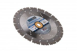 230 x 2.6 x 15 x 22.2mm perforated P6 ECC evocut 230 diamond blade with blue and grey Premier branded label in the centre