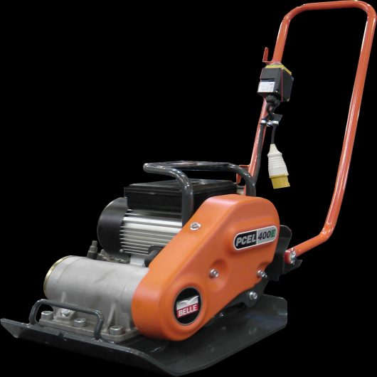 Belle PCEL 400E electric wacker plate compactor with protective metal frame, anti-vibration handle and orange Belle casing