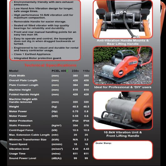 Technical specifications information sheet for the 110V and 230V models of the Belle PCEL 400E wacker plate compactor