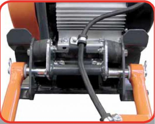Close up of the anti-vibration handle mounts and rear lifting handle on the Belle PCEL 400E electric wacker plate compactor