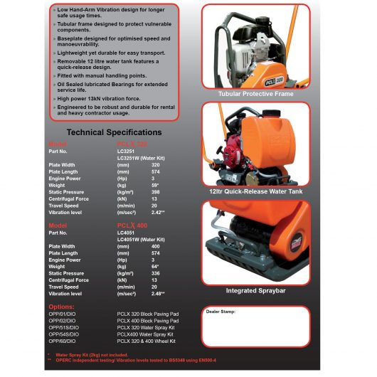 Technical specifications information sheet on the PCLX 320 and PCLX 400 Belle compactor wacker plate models