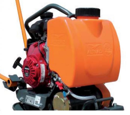Removable orange 12 litre water tank attached to the front of the Belle PCLX 400 wacker plate compactor