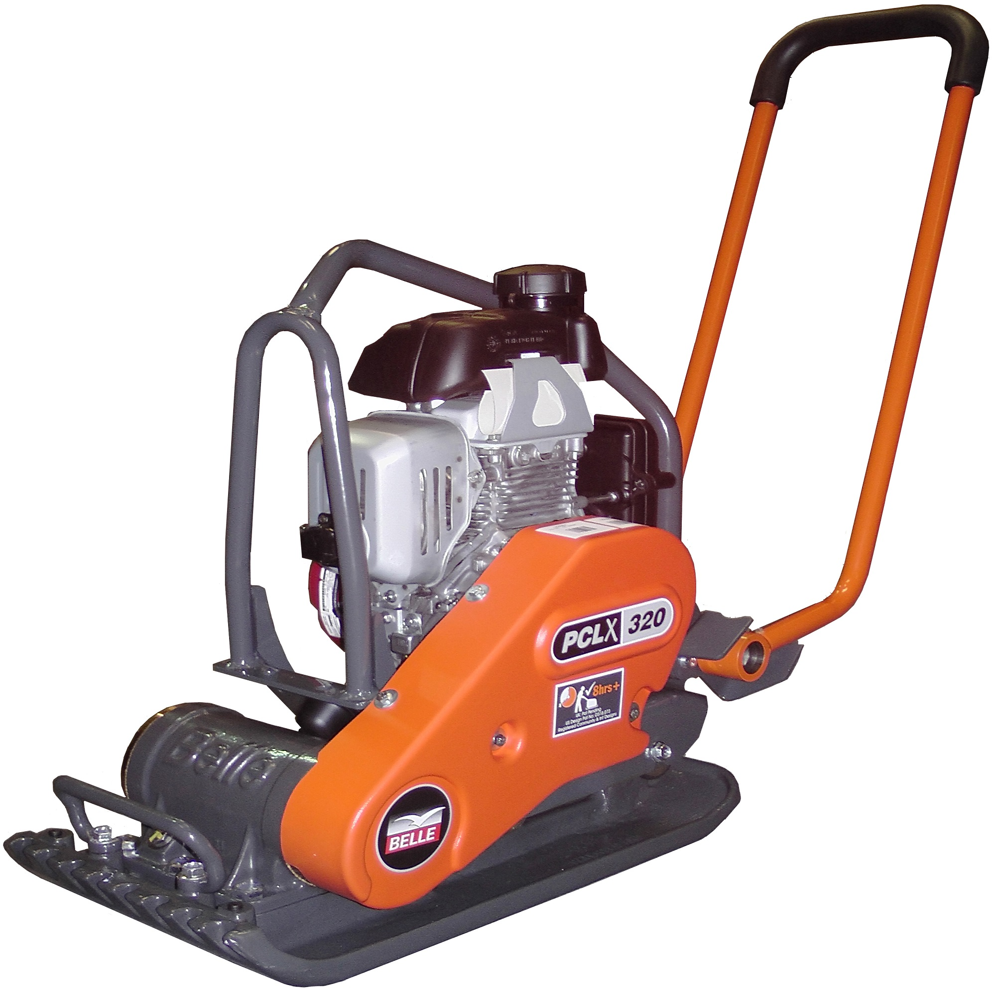 Belle PCLX 400 wacker plate compactor with Honda petrol engine with protective metal frame and low hand-arm vibration handle
