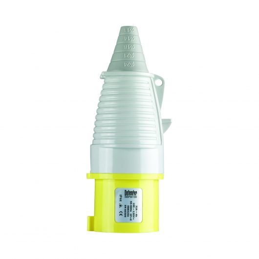 Yellow, white and grey Defender 32A 110V plug with conical ergonomic design and Defender label, on a white background