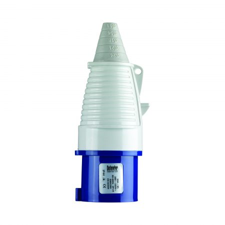 Blue, white and grey Defender 32A 230V plug with conical ergonomic design and Defender label, on a white background