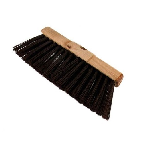 "13"" wooden broom head with long black poly bristles"