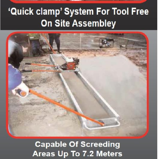 Information sheet showing quick clamp system, beam length and low hand-arm vibration handle features of the Belle Porto Screed