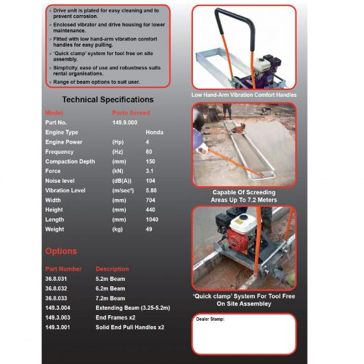 Technical specifications information sheet for Belle Porto Screed and porto screed beams