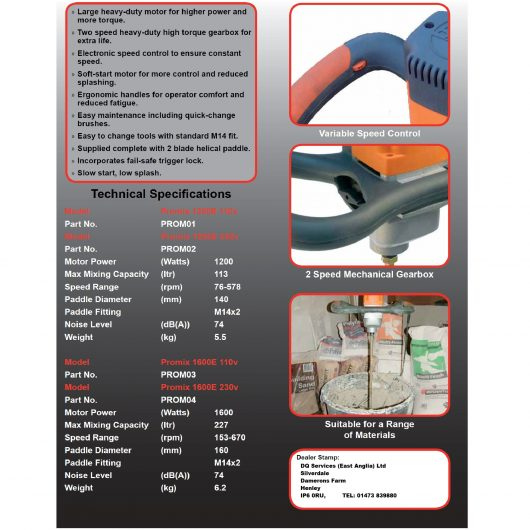 Information sheet for the Belle Promix 1600 hand stirrer mixer models
