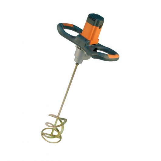 Belle Promix 1600 hand stirrer mixer with ergonomic orange and black handles and 2 blade helical 160mm paddle