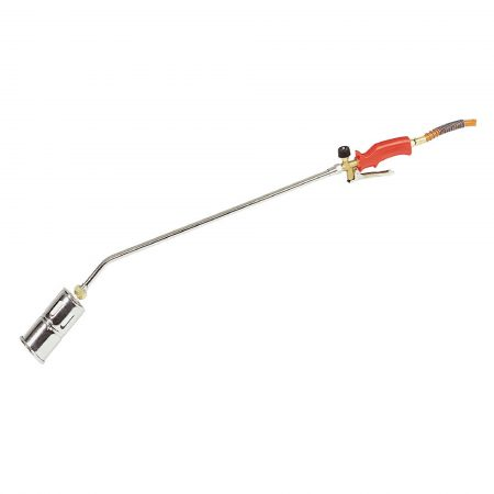 Propane butane gas torch with 600mm shaft, 60mm head and red handle on a white background