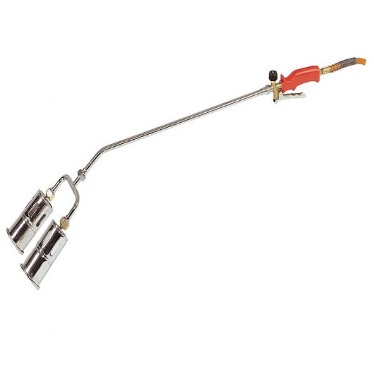 Twin head propane butane gas torch with 600mm shaft, 60mm heads and red handle on a white background