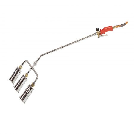 Triple head propane butane gas torch with 600mm shaft, 60mm heads and red handle on a white background