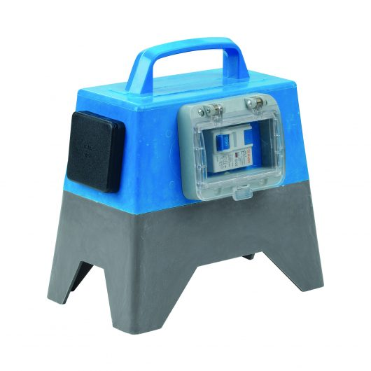 Defender RCD unit with blue and grey fibreglass body, 13A plug, carry handle and external MCB switch, on a white background
