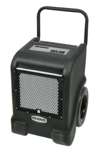 Rhino RD48 dehumidifier with black and blue casing, back wheels for portability and a pushing handle, on a white background