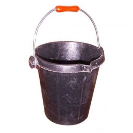 Black rubber unbreakable bucket with metal handle and rubber grip on a white background
