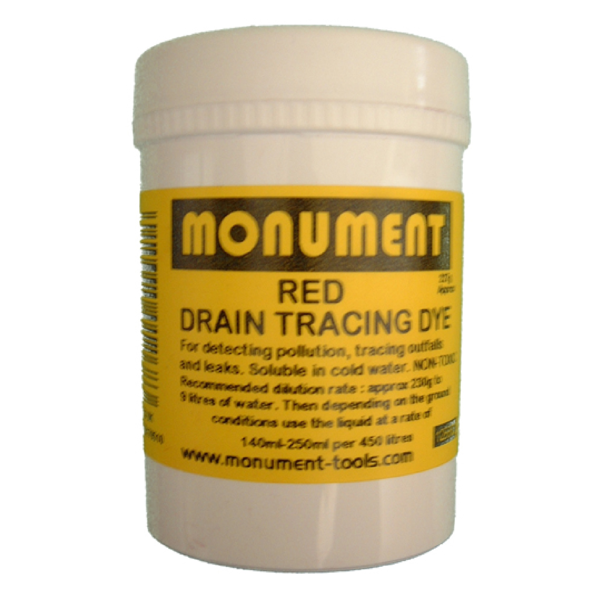 White tub of 8oz. red drain dye from Monument with yellow information label on and Monument logo