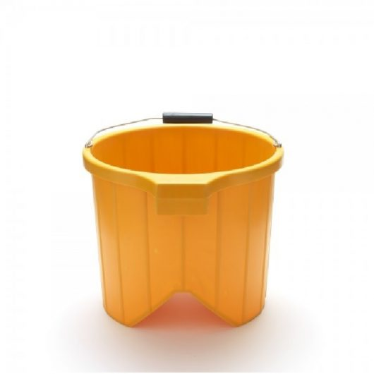 Rigid V shaped bucket made from yellow heavy duty plastic with metal handle on a white background