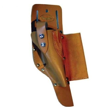 Tan leather roofers hammer holster with belt slots