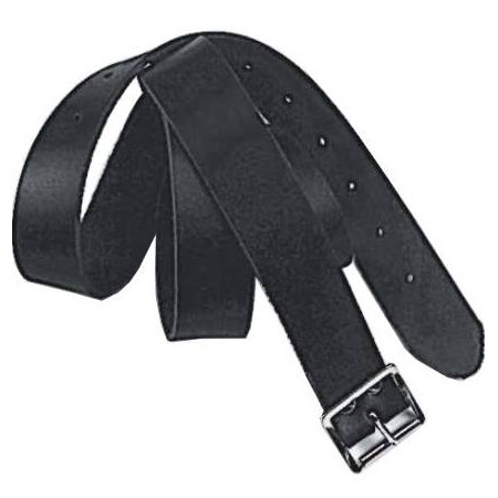 Black leather roofers belt with silver metal buckle