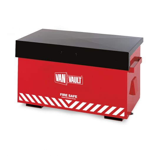 Red sheet steel Van Vault fire safe with closed black lid, brass overspill tap and white Van Vault branding