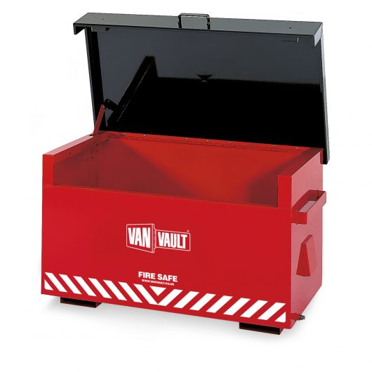 Empty red sheet steel Van Vault fire safe with black lid, brass overspill tap and white Van Vault branding
