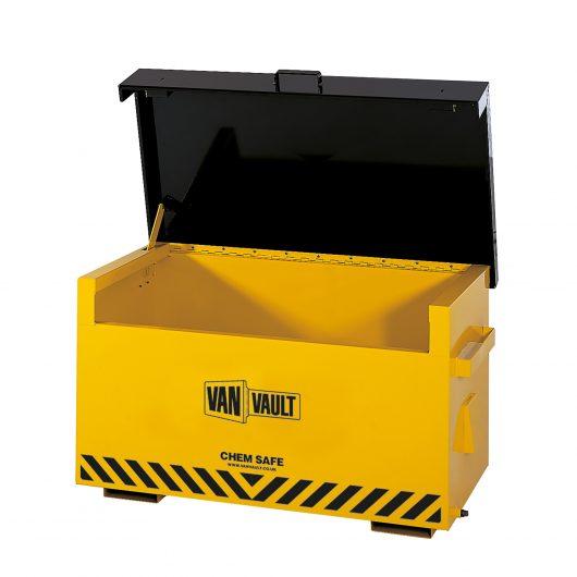 Yellow powder coated sheet steel Van Vault chem safe with black lid, brass overspill tap and black Van Vault branding