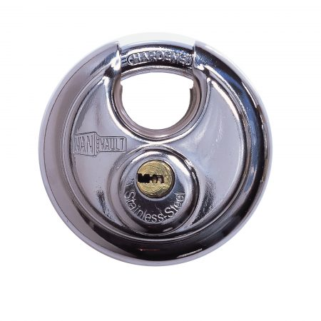 Van Vault stainless steel 70mm disc lock with hardened steel chrome plated shackle, on a white background