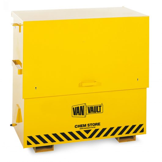 Fully ventilated closed yellow powder coated Van Vault chem store with brass overspill tap and black Van Vault branding