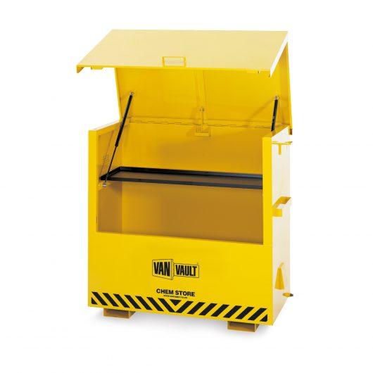 Open yellow powder coated Van Vault chem store with internal shelf, fixed steel handles and black Van Vault branding