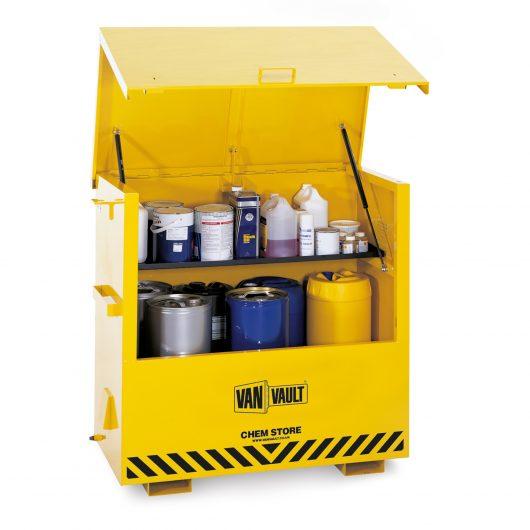 Yellow powder coated Van Vault chem store with hazardous chemicals on internal shelf and black Van Vault branding
