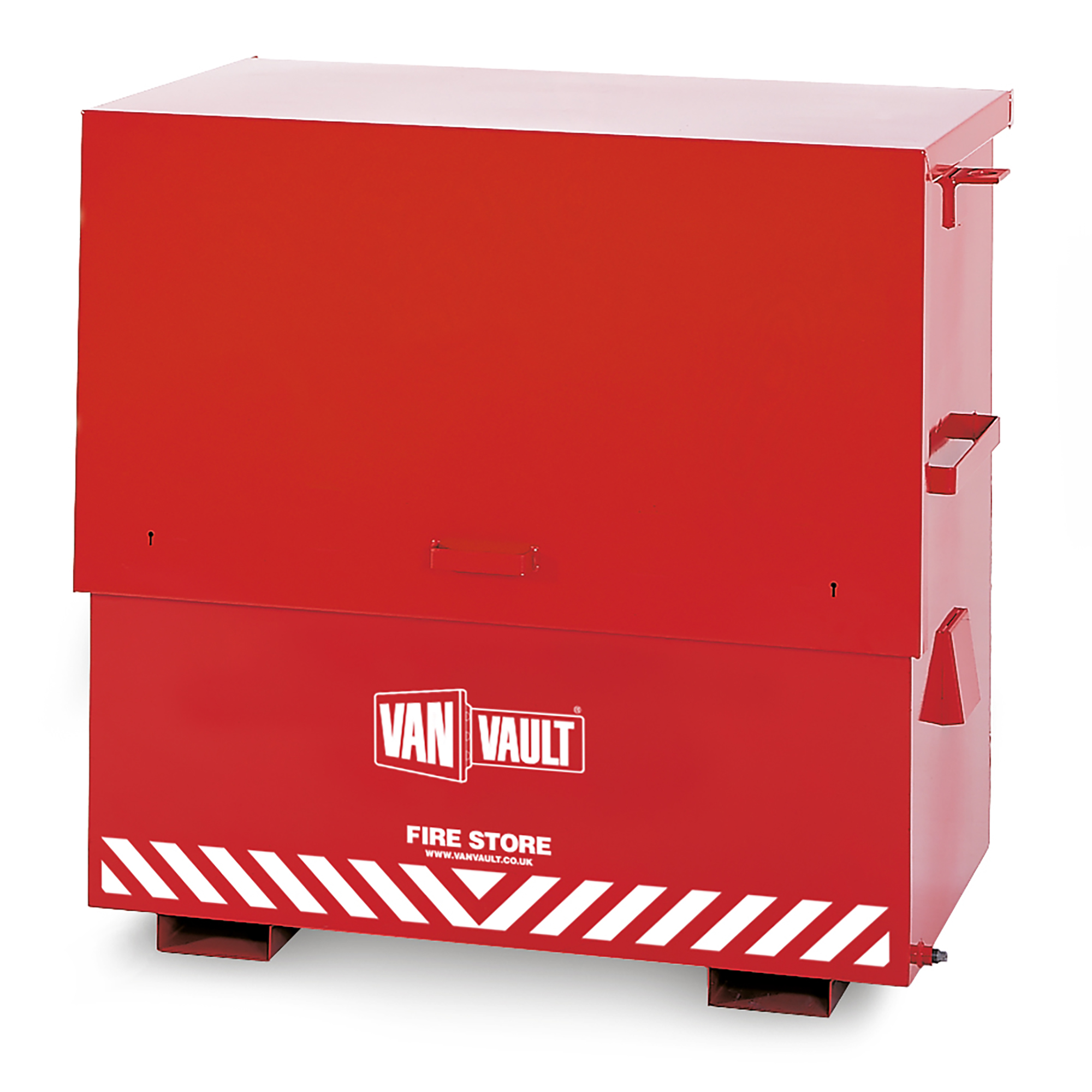 Closed red sheet steel Van Vault fire store with internal shelf, brass overspill tap and white Van Vault branding