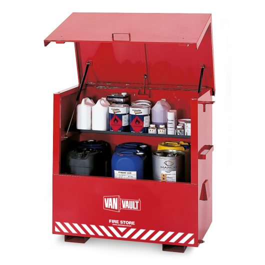 Red powder coated sheet steel Van Vault fire store with flammable liquids on the internal shelf and white Van Vault branding