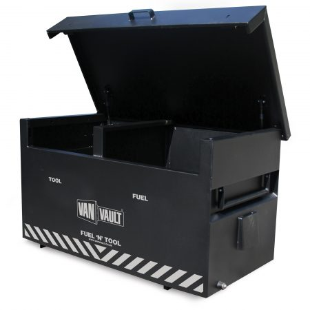 Black sheet steel Van Vault fuel 'n' tool storage box with 2 compartments, brass overspill tap and white Van Vault branding