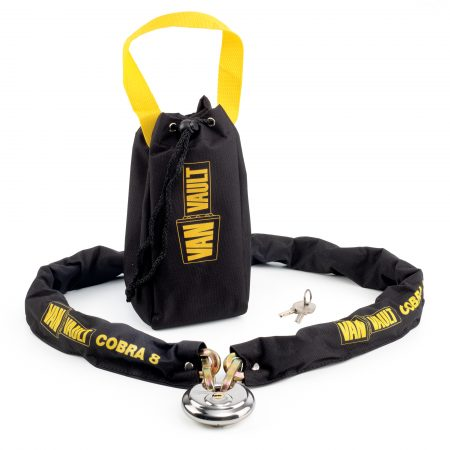 Van Vault Cobra 8 steel security lock with Van Vault branded black and yellow nylon carry bag, 70mm disc lock and keys