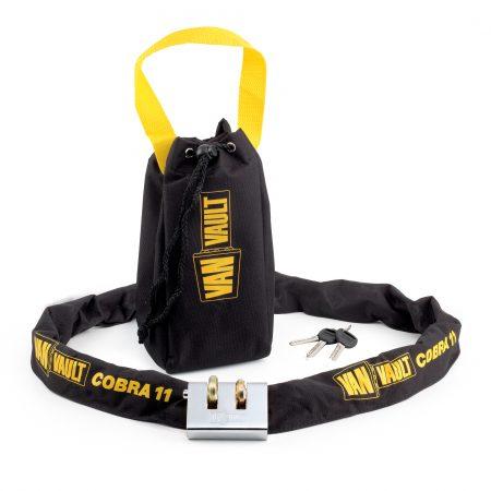 Van Vault Cobra 11 steel security lock with Van Vault branded black and yellow nylon carry bag and keys