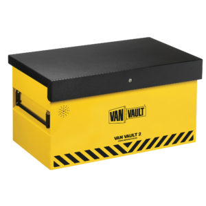 Yellow sheet steel Van Vault 2 with black lid, comfort grip handles and black Van Vault branding, on a white background