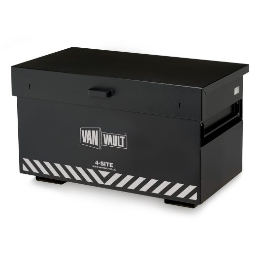 Black sheet steel Van Vault 4-site with fork lift points, side handles and contrasting grey Van Vault branding